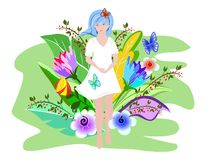 Cute summer girl in a white dress walking across the field with bright summer flowers. Surreal flowers and butterflies. vector illustration