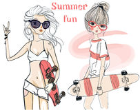 Cute summer girls Stock Photography