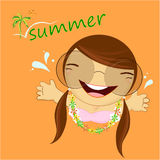 Cute summer illustration with a amazing small girl Stock Images