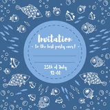 Cute summer invitation card with fishes. Stock Images
