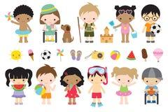 Cute Summer Kids Activities Royalty Free Stock Image