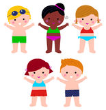 Cute Summer Kids in swimsuit set vector illustration