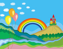 Cute summer landscape with rainbow. And castle Stock Photo