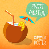 Cute summer poster -beach cocktail in coconut with Stock Photos