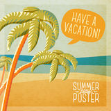 Cute summer poster - beach with palms and ocean Stock Photo