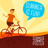 Cute summer poster -  bike riding, with speech Stock Photo