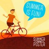 Cute summer poster -  bike riding, with speech Stock Photo