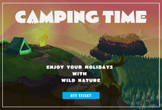 Cute summer poster - camping landscape with tent and bonfire. Vector Stock Photo