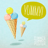Cute summer poster - cones with yummy ice-cream Stock Photos