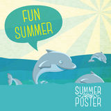Cute summer poster - Dolphins jumping in the ocean Stock Image