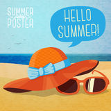 Cute summer poster - hat and sun glasses on the Royalty Free Stock Images