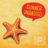 Cute summer poster - ocean starfish on the beach Stock Image