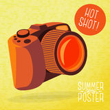 Cute summer poster - photo camera shots, with Stock Photos