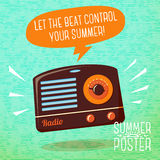 Cute summer poster - radio playing cool music Stock Photos