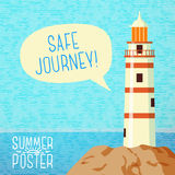Cute summer poster - sea beacon on the rock, with. Speech bubble for your text Stock Image