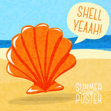 Cute summer poster - sea shell on the shore, with Stock Photos