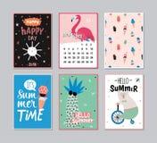 Cute Summer Poster Set Royalty Free Stock Photos