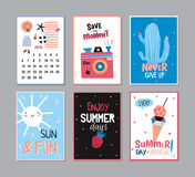 Cute Summer Poster Set Stock Photography