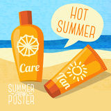 Cute summer poster - sun care creams on the beach Royalty Free Stock Image