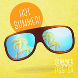 Cute summer poster - sunglasses with palms Stock Image