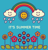 Cute summer poster with text - illustration Royalty Free Stock Image