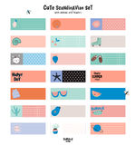 Cute Summer Scandinavian Set. Of Greeting Cards, Gift Tags, Stickers and Labels Templates with Trandy Summer Elements in vector. Holiday Summer Modern Concept Royalty Free Stock Image