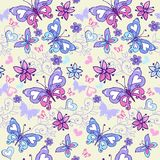 Cute summer seamless pattern with butterflies and hearts. Vintage flowers seamless ornament in blue and pink colors. Decorative or vector illustration