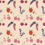 Cute summer seamless pattern. Colorful summer pattern. Mix of different berries  and fruits Stock Photo
