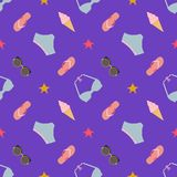 Cute summer seamless pattern with women`s swimsuits and beach accessories on dark background. Flat minimalistic style colorful vector illustration Stock Photo
