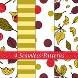 Vector set of seamless pattern of colored apple tree leaves royalty free illustration