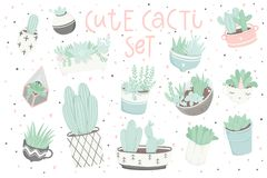 Cute summer sticker set with cacti and succulents. Cute summer sticker set with cacti. Pretty and soft pastel colors. Hand drawn collection of different cactuses Stock Images