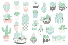 Cute summer sticker set with cacti and succulents. Cute summer sticker set with cacti. Pretty and soft pastel colors. Hand drawn collection of different cactuses Royalty Free Stock Image