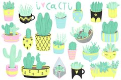 Cute summer sticker set with cacti and succulents. Cute summer sticker set with cacti. Pretty and soft pastel colors. Hand drawn collection of different cactuses Royalty Free Stock Photos