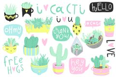 Cute summer sticker set with cacti and succulents. Cute summer sticker set with cacti. Pretty and soft pastel colors. Hand drawn collection of different cactuses Royalty Free Stock Photo