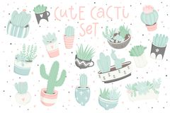 Cute summer sticker set with cacti and succulents. Cute summer sticker set with cacti. Pretty and soft pastel colors. Hand drawn collection of different cactuses Royalty Free Stock Photography