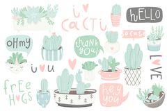 Cute summer sticker set with cacti and succulents. Cute summer sticker set with cacti. Pretty and soft pastel colors. Hand drawn collection of different cactuses Stock Photo