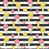 Cute summer striped seamless vector pattern background illustration with ice cream, strawberry, lemon, cherry and banana. Cute summer striped seamless pattern royalty free illustration
