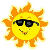 Cute summer Sun with sunglasses Stock Photos