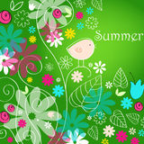 Cute summer text illustration with bird Stock Photo