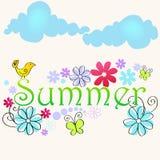 Cute summer text illustration with bird. Vector cute, hand drawn style summer text illustration with bird and butterflies Stock Photography