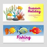 Cute summer theme banner with coral reef. Additional file in eps 10 Royalty Free Stock Image
