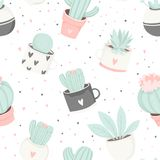 Cute summer theme cactus seamless pattern. Pretty and soft pastel colors. Pattern with different cactus and succulents. Vector illustration Royalty Free Stock Photo