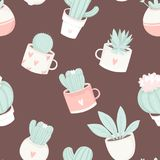 Cute summer theme cactus seamless pattern. Pretty and soft pastel colors. Pattern with different cactus and succulents. Vector illustration Stock Image