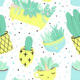 Cute summer theme seamless pattern with cacti Stock Image