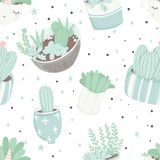 Cute summer theme seamless pattern with cacti Stock Photo