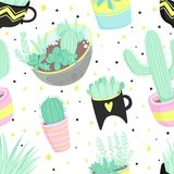 Cute summer theme seamless pattern with cacti Royalty Free Stock Photo