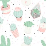 Cute summer theme seamless pattern with cacti Stock Photos