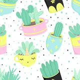Cute summer theme seamless pattern with cacti Stock Images