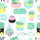 Cute summer theme seamless pattern with cacti Royalty Free Stock Images