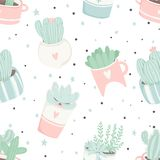 Cute summer theme seamless pattern with cacti Royalty Free Stock Photos